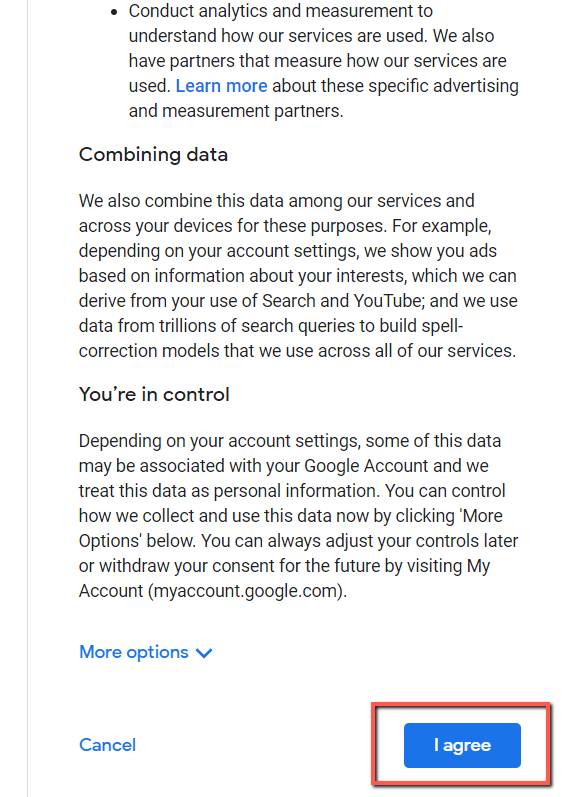 Create a Google account without gmail terms tos